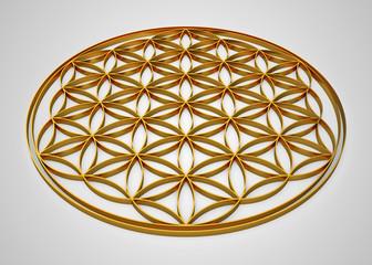 3D Blume des Lebens Gold liegend