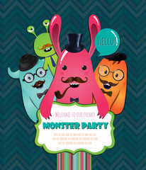 Monster Party Card Design. Vector Illustration