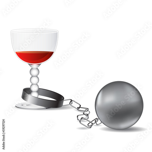 glass of wine and shackles