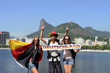 German sport fans  at Rio de Janeiro with Christ Redeemer.