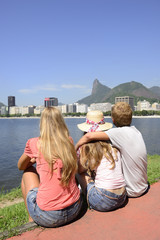 Tourists and Christ the Redeemer in Rio de Janeiro