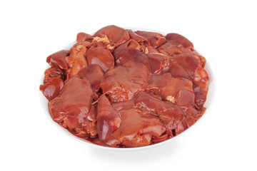 raw chicken livers on a plate