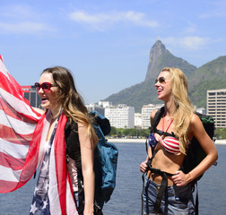Sport fans with USA Flag in Rio de Janeiro.