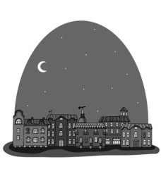 Newspaper night panorama with cute town. Seamless vector pattern