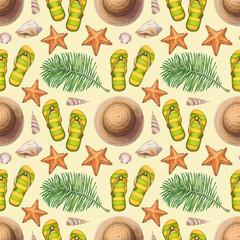 Summer holiday pattern. Straw hat, flip flops, shells