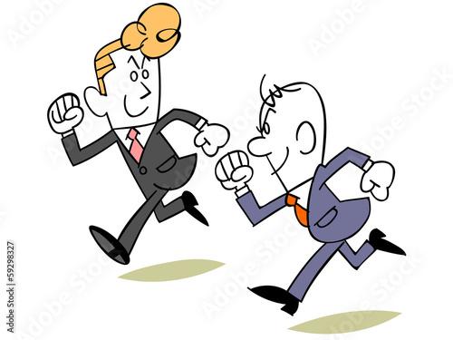 同僚と競争するビジネスマン
