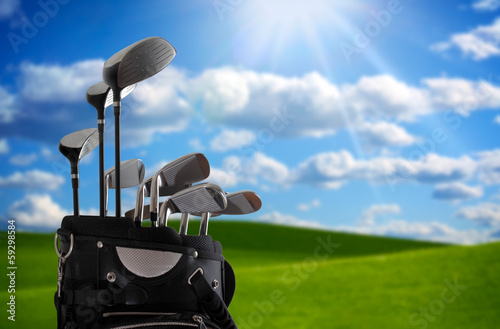 .close-up of a golf bag