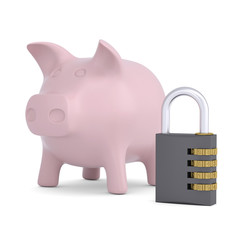 Combination lock and pink piggy bank