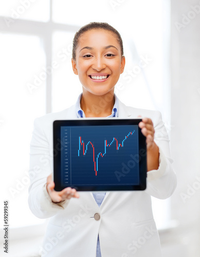 businesswoman with tablet pc and forex chart in it