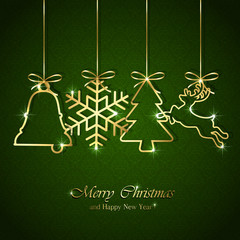 Christmas background with golden elements
