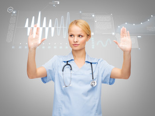 doctor or nurse working with virtual screen