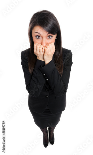 Scared businesswoman