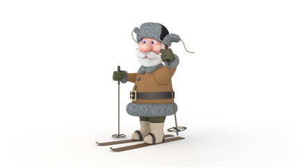 3d grandfather on skis.