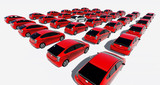 Hundreds of red cars, One white