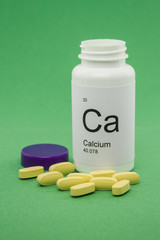 Open bottle of Calcium vitamins