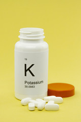 Open bottle of Potassium vitamins