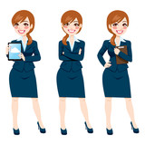 Brunette Businesswoman Full Body Poses