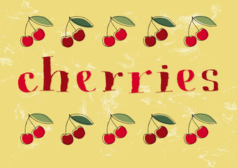 Hand-drawn cherries text and illustrations