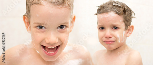 children in the bath