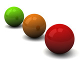 Green, yellow, red ball with shadow, 3d
