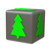 SIlver cube with green Christmas tree, 3d icon