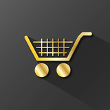 SHOPPING CART icon (button store shop gold trolley basket)