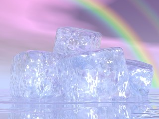 Ice cubes and rainbow - 3D render