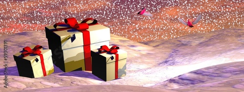 Christmas gifts - 3D render