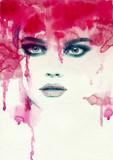 Fototapety Beautiful woman. watercolor illustration