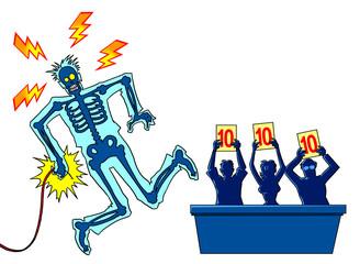Man take the electrician shock in a ballroom shampionship