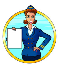 Attractive air hostess holding empty paper blank