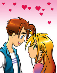 romantic cartoon couple looking at each other