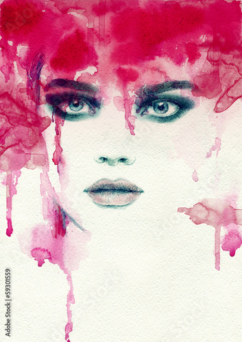 Beautiful woman. watercolor illustration - 59301559