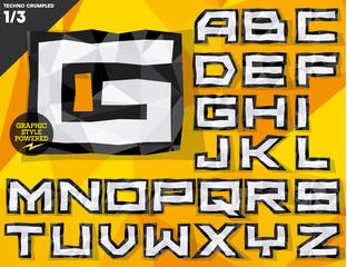 Vector crumpled paper alphabet. Techno style.