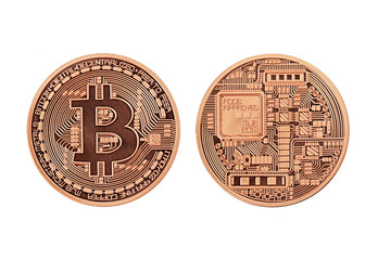 Golden Bitcoins  (front and back view) isolated on white