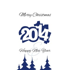 Christmas and New Year 2014 blue vector