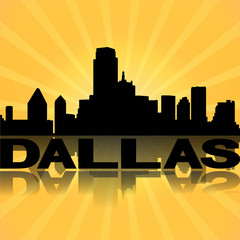 Dallas skyline reflected with sunburst illustration