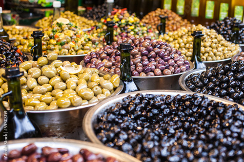 Assortment of olives on market,Tel Aviv,Israel