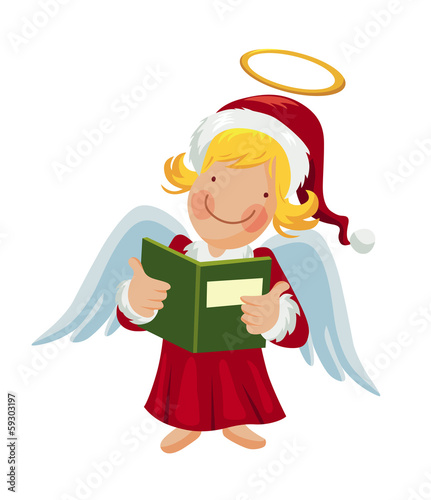Cartoon angel holding a songbook