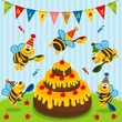 birthday bees - vector  illustration
