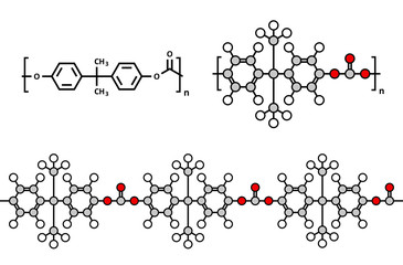 Polycarbonate (PC) plastic, chemical structure.