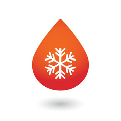 Blood drop with a snow flake