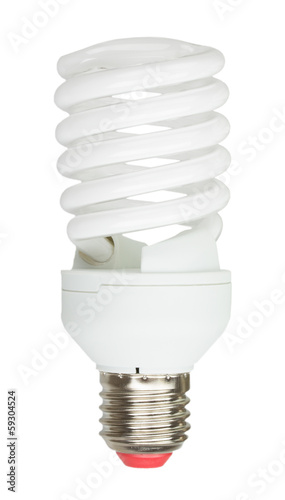 Energy saving lamp on white background