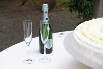 torta di matrimonio con spumante