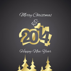 Christmas and Gold Year 2014 black background vector