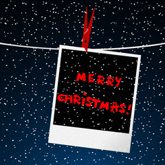Merry Christmas card with picture over night sky