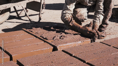 Adobe Brick Making Close