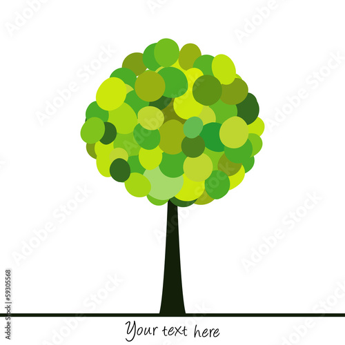Abstract tree made of green circles