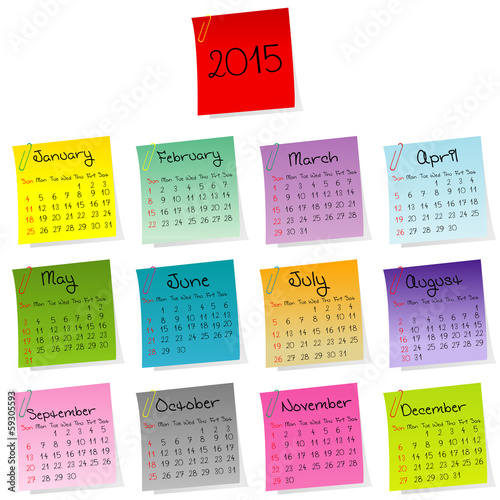 2015 calendar made of colored sheets of paper