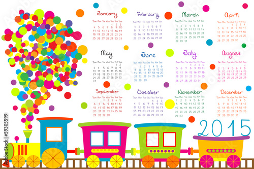 2015 calendar for kids with cartoon train